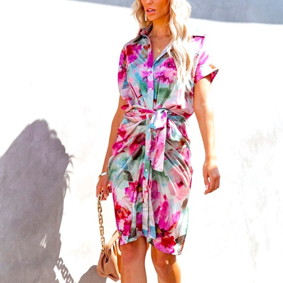 """NWT """"BFOH"""" Button up Summer Floral Midi dress"""